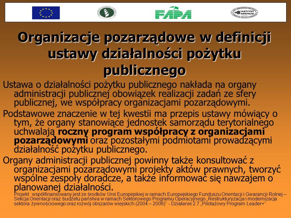 Organizacje pozarządowe w definicji ustawy działalności pożytku publicznego Ustawa o działalności pożytku publicznego nakłada na organy administracji