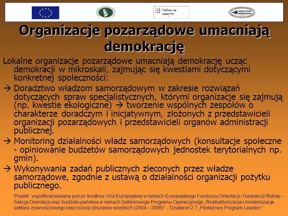 Organizacje pozarządowe umacniają demokrację Lokalne organizacje pozarządowe umacniają demokrację ucząc demokracji w mikroskali, zajmując się kwestiam