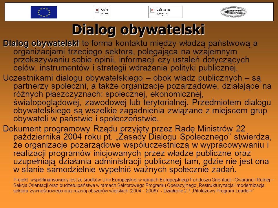 Dialog obywatelski Dialog obywatelski Dialog obywatelski to forma kontaktu między władzą państwową a organizacjami trzeciego sektora, polegająca na wz
