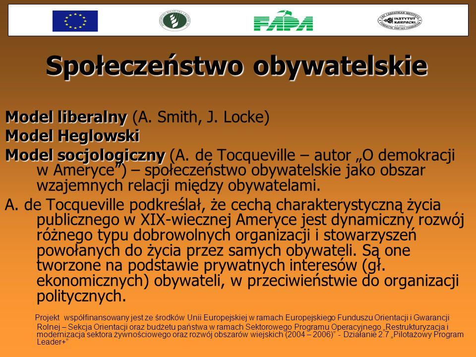 Społeczeństwo obywatelskie Model liberalny Model liberalny (A. Smith, J. Locke) Model Heglowski Model socjologiczny Model socjologiczny (A. de Tocquev