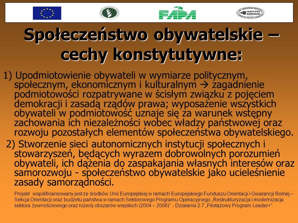 Społeczeństwo obywatelskie – cechy konstytutywne: 1) Upodmiotowienie obywateli w wymiarze politycznym, społecznym, ekonomicznym i kulturalnym zagadnie