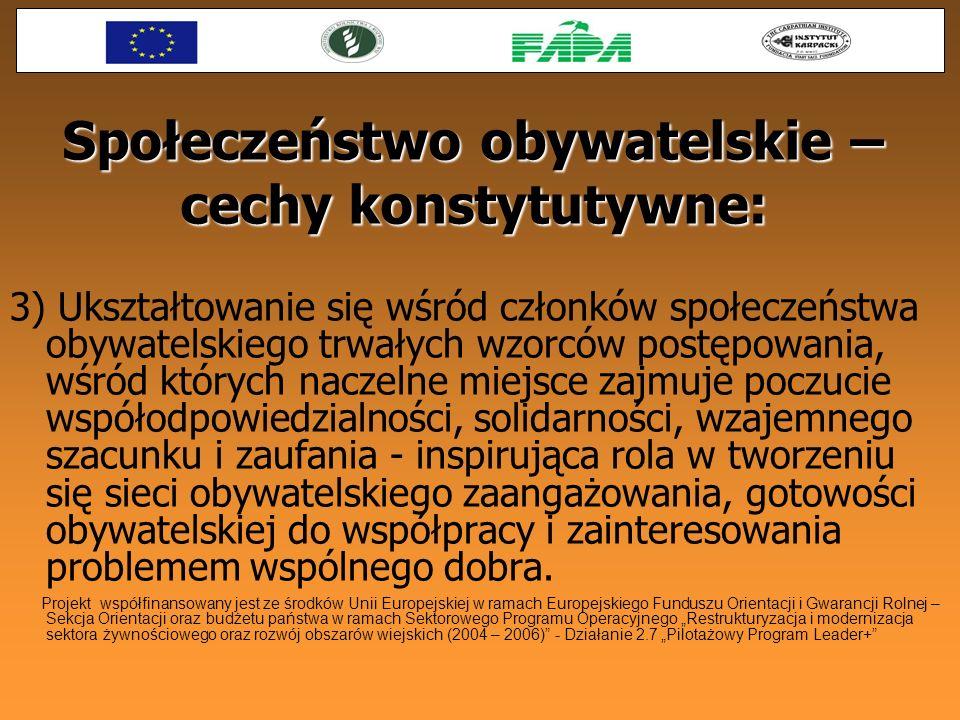 Społeczeństwo obywatelskie – cechy konstytutywne: 3) Ukształtowanie się wśród członków społeczeństwa obywatelskiego trwałych wzorców postępowania, wśr