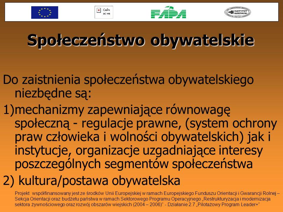 Społeczeństwo obywatelskie Do zaistnienia społeczeństwa obywatelskiego niezbędne są: 1)mechanizmy zapewniające równowagę społeczną - regulacje prawne,