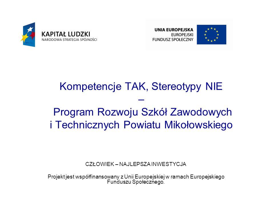Kompetencje TAK, Stereotypy NIE – Program Rozwoju Szkół Zawodowych i Technicznych Powiatu Mikołowskiego CZŁOWIEK – NAJLEPSZA INWESTYCJA Projekt jest współfinansowany z Unii Europejskiej w ramach Europejskiego Funduszu Społecznego.