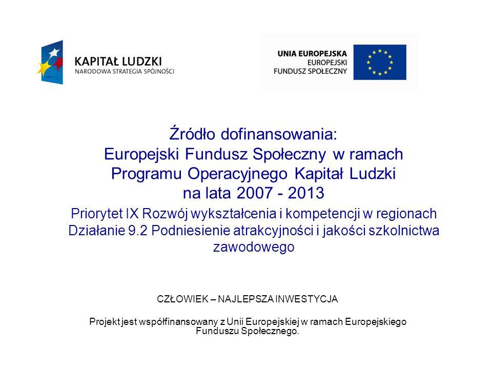 Źródło dofinansowania: Europejski Fundusz Społeczny w ramach Programu Operacyjnego Kapitał Ludzki na lata 2007 - 2013 Priorytet IX Rozwój wykształcenia i kompetencji w regionach Działanie 9.2 Podniesienie atrakcyjności i jakości szkolnictwa zawodowego CZŁOWIEK – NAJLEPSZA INWESTYCJA Projekt jest współfinansowany z Unii Europejskiej w ramach Europejskiego Funduszu Społecznego.