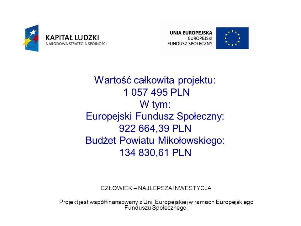Wartość całkowita projektu: 1 057 495 PLN W tym: Europejski Fundusz Społeczny: 922 664,39 PLN Budżet Powiatu Mikołowskiego: 134 830,61 PLN CZŁOWIEK – NAJLEPSZA INWESTYCJA Projekt jest współfinansowany z Unii Europejskiej w ramach Europejskiego Funduszu Społecznego.