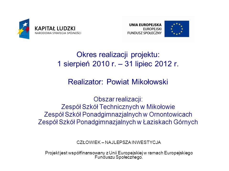 Okres realizacji projektu: 1 sierpień 2010 r.– 31 lipiec 2012 r.