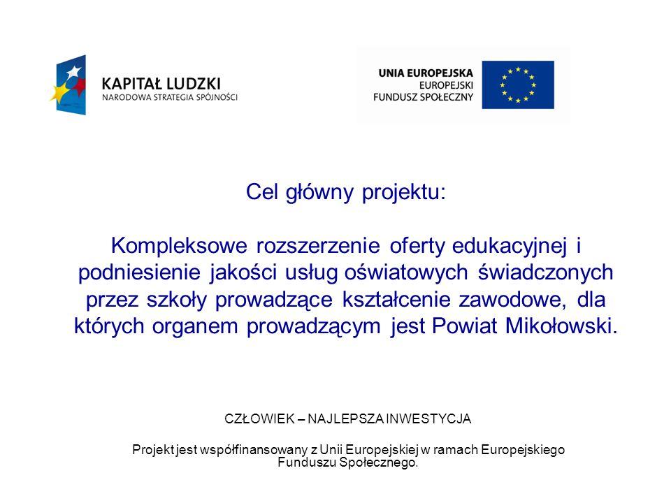 Cel główny projektu: Kompleksowe rozszerzenie oferty edukacyjnej i podniesienie jakości usług oświatowych świadczonych przez szkoły prowadzące kształcenie zawodowe, dla których organem prowadzącym jest Powiat Mikołowski.