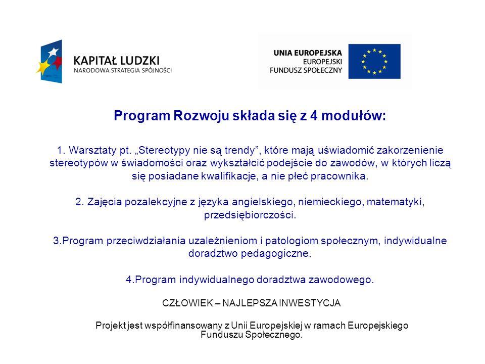 Program Rozwoju składa się z 4 modułów: 1.Warsztaty pt.
