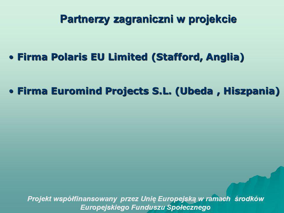 Projekt współfinansowany przez Unię Europejską w ramach środków Europejskiego Funduszu Społecznego Partnerzy zagraniczni w projekcie Firma Polaris EU Limited (Stafford, Anglia) Firma Polaris EU Limited (Stafford, Anglia) Firma Euromind Projects S.L.