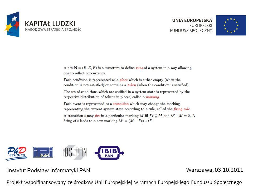 Instytut Podstaw Informatyki PAN Warszawa, 03.10.2011 Projekt współfinansowany ze środków Unii Europejskiej w ramach Europejskiego Funduszu Społeczneg