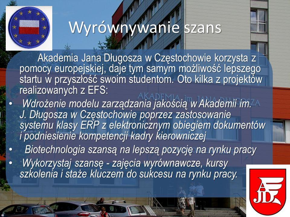 Wyrównywanie szans Akademia Jana Długosza w Częstochowie korzysta z pomocy europejskiej, daje tym samym możliwość lepszego startu w przyszłość swoim s