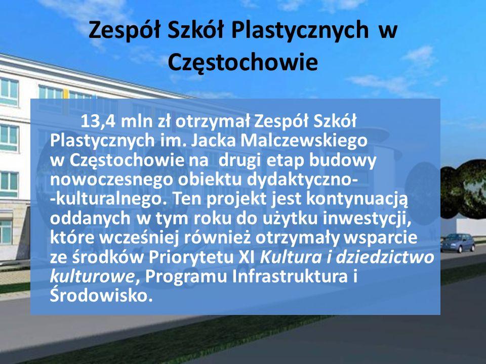 Zespół Szkół Plastycznych w Częstochowie 13,4 mln zł otrzymał Zespół Szkół Plastycznych im. Jacka Malczewskiego w Częstochowie na drugi etap budowy no