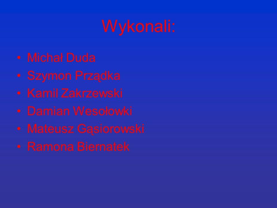 Wykonali: Michał Duda Szymon Prządka Kamil Zakrzewski Damian Wesołowki Mateusz Gąsiorowski Ramona Biernatek