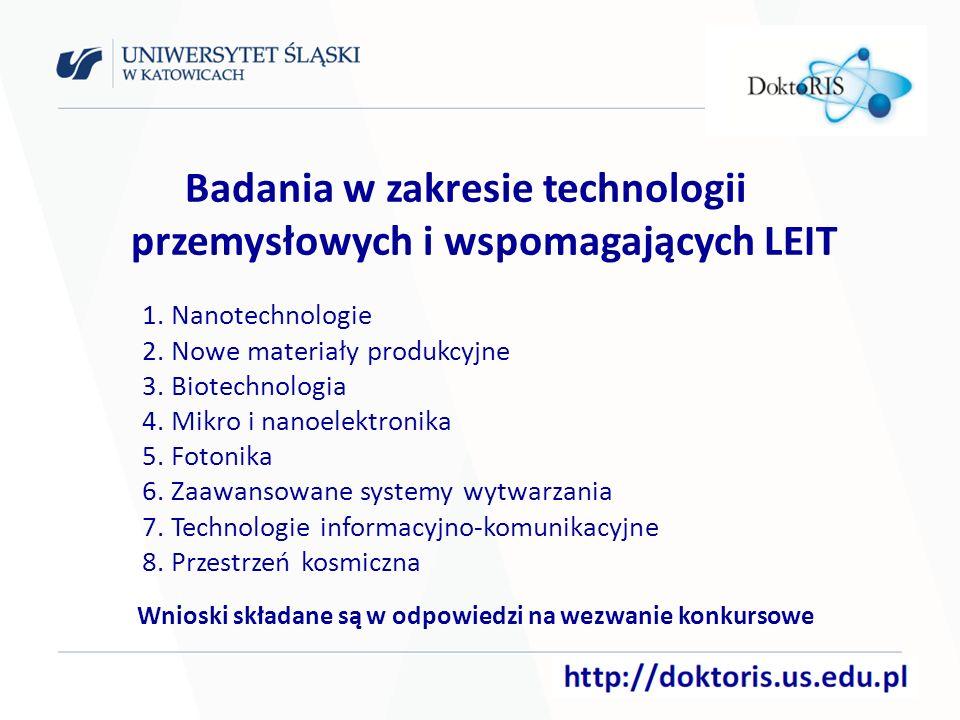 Badania w zakresie technologii przemysłowych i wspomagających LEIT 1.