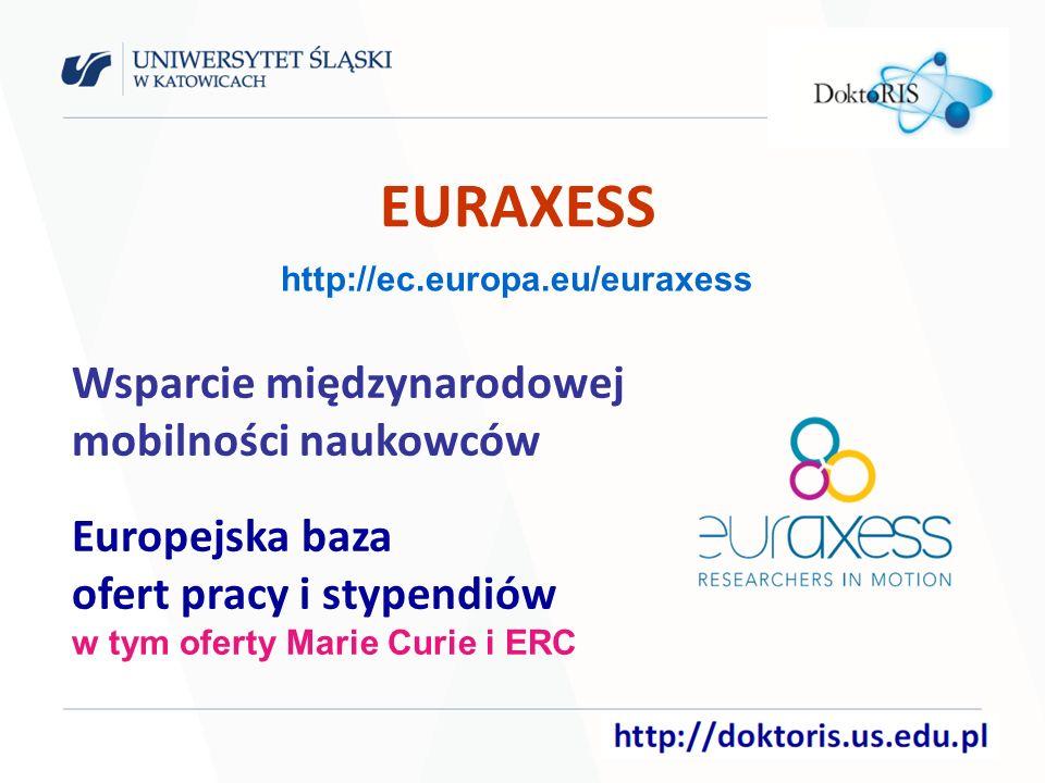 EURAXESS Wsparcie międzynarodowej mobilności naukowców Europejska baza ofert pracy i stypendiów w tym oferty Marie Curie i ERC http://ec.europa.eu/euraxess