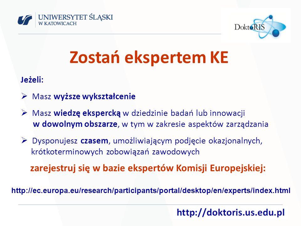 Zostań ekspertem KE Jeżeli: Masz wyższe wykształcenie Masz wiedzę ekspercką w dziedzinie badań lub innowacji w dowolnym obszarze, w tym w zakresie aspektów zarządzania Dysponujesz czasem, umożliwiającym podjęcie okazjonalnych, krótkoterminowych zobowiązań zawodowych zarejestruj się w bazie ekspertów Komisji Europejskiej: http://ec.europa.eu/research/participants/portal/desktop/en/experts/index.html