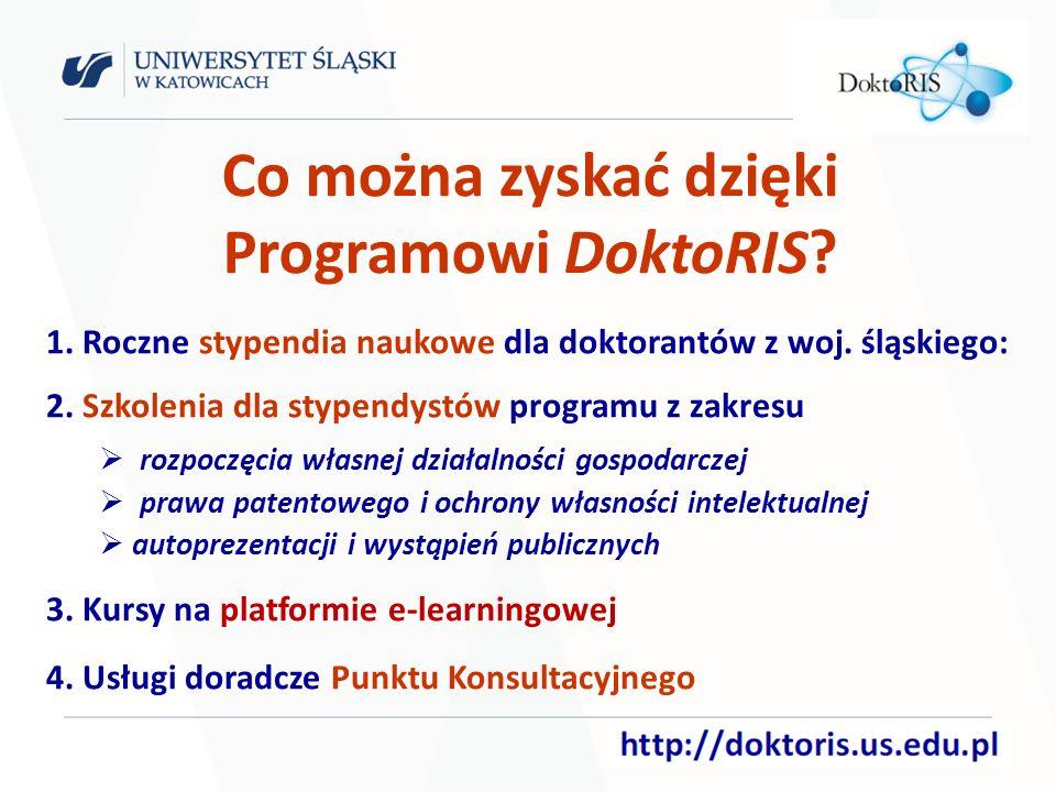 Punkt Konsultacyjny Świadczy dla doktorantów z województwa śląskiego dostosowane do indywidualnych potrzeb usługi informacyjno-doradcze z zakresu: pozyskiwania środków na prowadzenie badań ochrony własności intelektualnej i prawa patentowego finansowania własnych projektów technologicznych komercjalizacji wiedzy