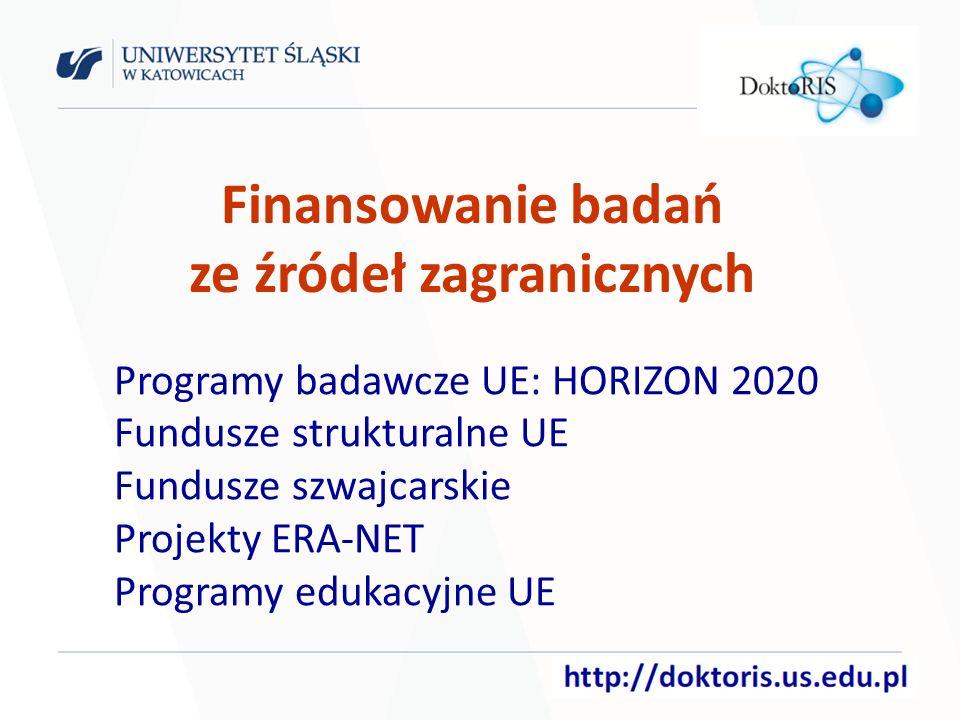 Programy badawcze UE: HORIZON 2020 Fundusze strukturalne UE Fundusze szwajcarskie Projekty ERA-NET Programy edukacyjne UE Finansowanie badań ze źródeł zagranicznych