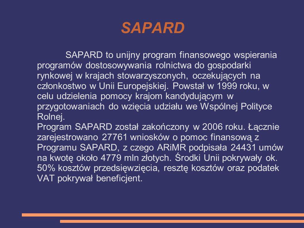 SAPARD SAPARD to unijny program finansowego wspierania programów dostosowywania rolnictwa do gospodarki rynkowej w krajach stowarzyszonych, oczekujący