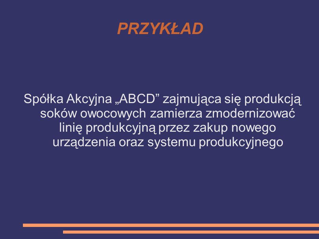 PRZYKŁAD Spółka Akcyjna ABCD zajmująca się produkcją soków owocowych zamierza zmodernizować linię produkcyjną przez zakup nowego urządzenia oraz syste