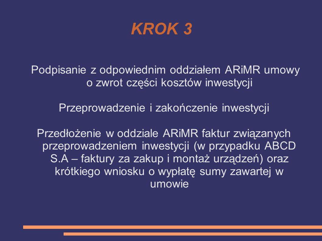 KROK 3 Podpisanie z odpowiednim oddziałem ARiMR umowy o zwrot części kosztów inwestycji Przeprowadzenie i zakończenie inwestycji Przedłożenie w oddzia