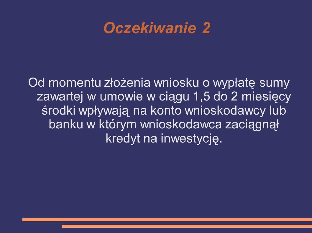 Oczekiwanie 2 Od momentu złożenia wniosku o wypłatę sumy zawartej w umowie w ciągu 1,5 do 2 miesięcy środki wpływają na konto wnioskodawcy lub banku w