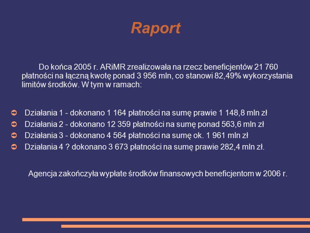 Raport Do końca 2005 r. ARiMR zrealizowała na rzecz beneficjentów 21 760 płatności na łączną kwotę ponad 3 956 mln, co stanowi 82,49% wykorzystania li