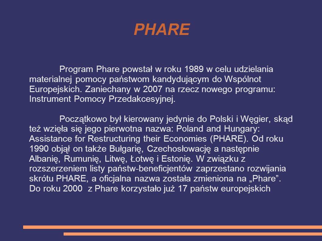 PHARE Program Phare powstał w roku 1989 w celu udzielania materialnej pomocy państwom kandydującym do Wspólnot Europejskich. Zaniechany w 2007 na rzec