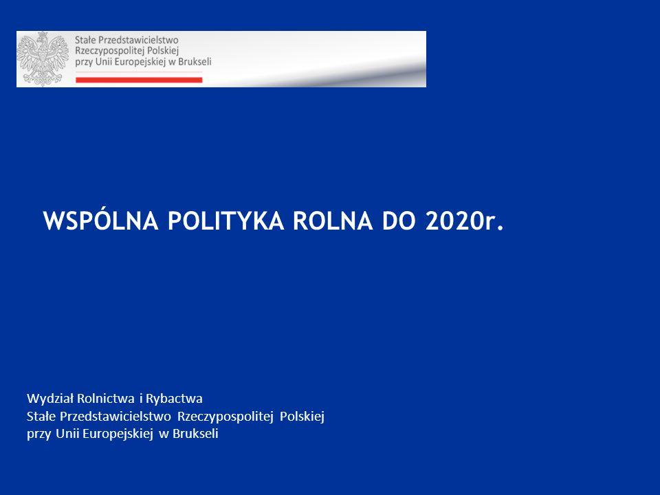 Wydział Rolnictwa i Rybactwa Stałe Przedstawicielstwo Rzeczypospolitej Polskiej przy Unii Europejskiej w Brukseli WSPÓLNA POLITYKA ROLNA DO 2020r.