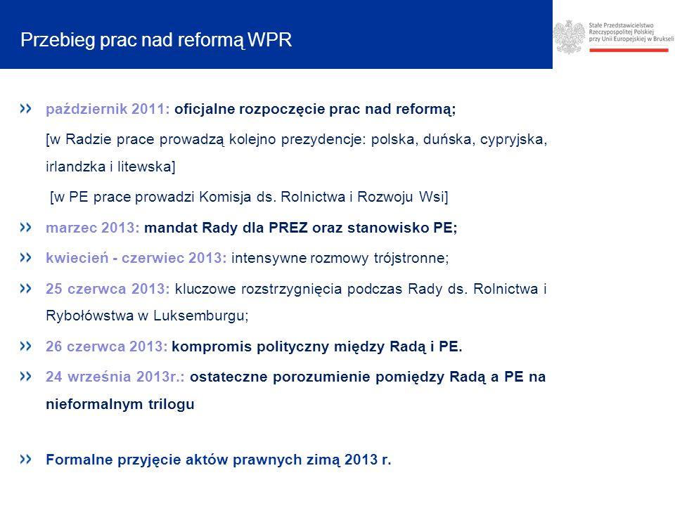Przebieg prac nad reformą WPR październik 2011: oficjalne rozpoczęcie prac nad reformą; [w Radzie prace prowadzą kolejno prezydencje: polska, duńska, cypryjska, irlandzka i litewska] [w PE prace prowadzi Komisja ds.