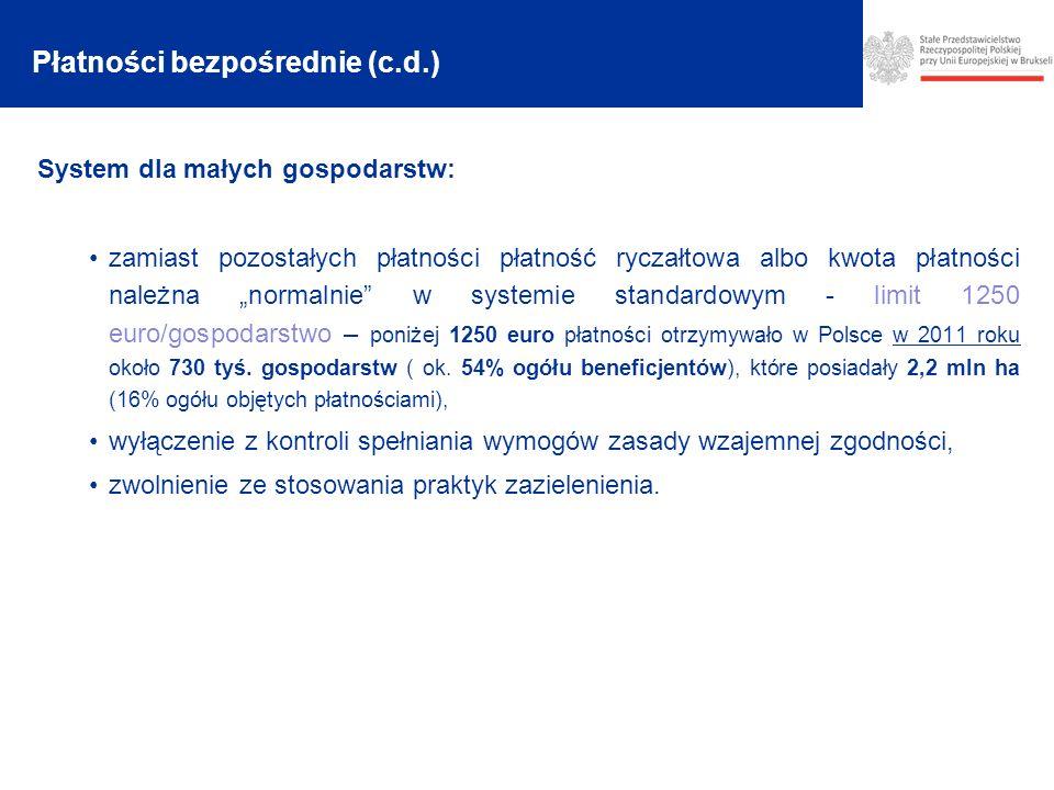 System dla małych gospodarstw: zamiast pozostałych płatności płatność ryczałtowa albo kwota płatności należna normalnie w systemie standardowym - limit 1250 euro/gospodarstwo – poniżej 1250 euro płatności otrzymywało w Polsce w 2011 roku około 730 tyś.