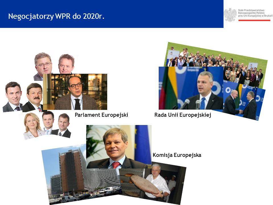 Negocjatorzy WPR do 2020r. Parlament EuropejskiRada Unii Europejskiej Komisja Europejska