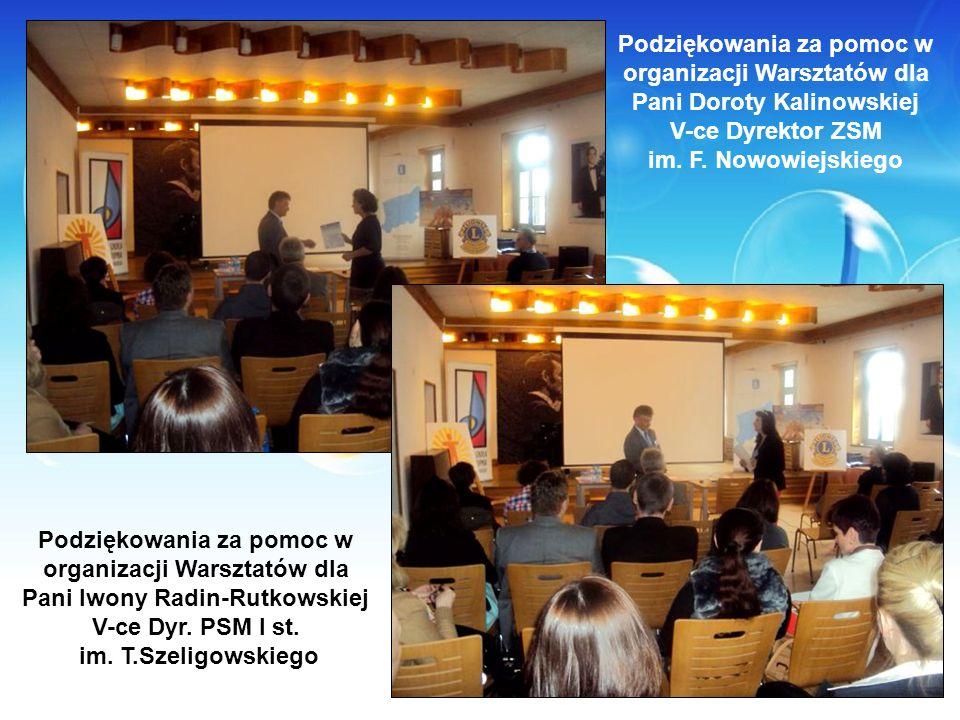 Podziękowania za pomoc w organizacji Warsztatów dla Pani Doroty Kalinowskiej V-ce Dyrektor ZSM im. F. Nowowiejskiego Podziękowania za pomoc w organiza