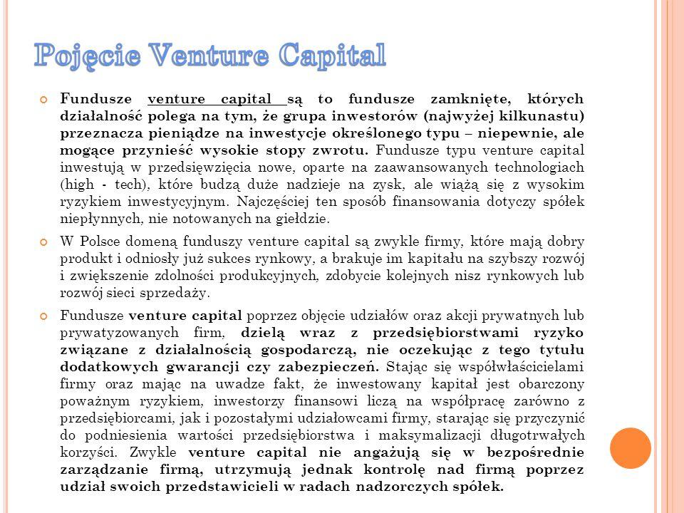 Fundusze venture capital są to fundusze zamknięte, których działalność polega na tym, że grupa inwestorów (najwyżej kilkunastu) przeznacza pieniądze n