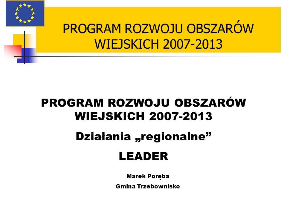 PROGRAM ROZWOJU OBSZARÓW WIEJSKICH 2007-2013 Działania regionalne LEADER Marek Poręba Gmina Trzebownisko