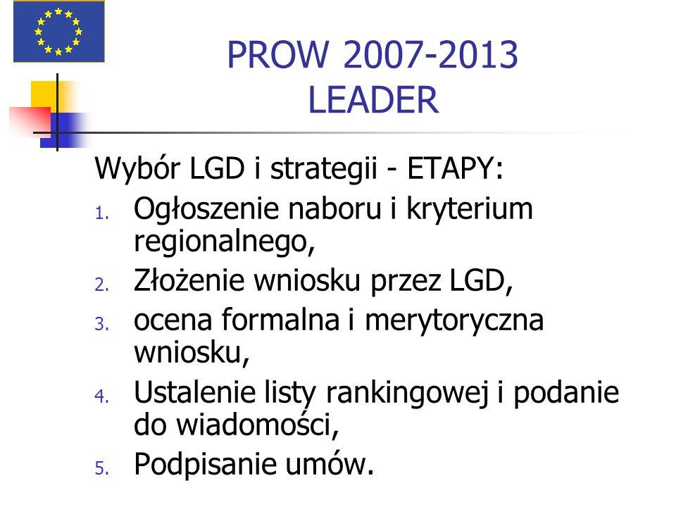PROW 2007-2013 LEADER Wybór LGD i strategii - ETAPY: 1. Ogłoszenie naboru i kryterium regionalnego, 2. Złożenie wniosku przez LGD, 3. ocena formalna i