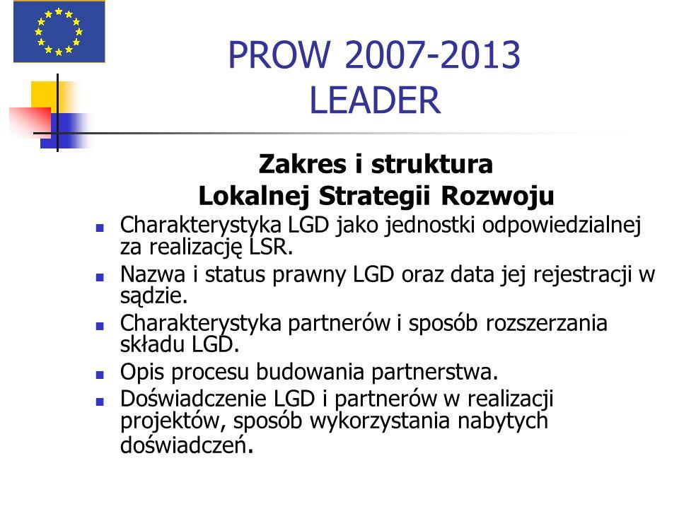 PROW 2007-2013 LEADER Zakres i struktura Lokalnej Strategii Rozwoju Charakterystyka LGD jako jednostki odpowiedzialnej za realizację LSR. Nazwa i stat