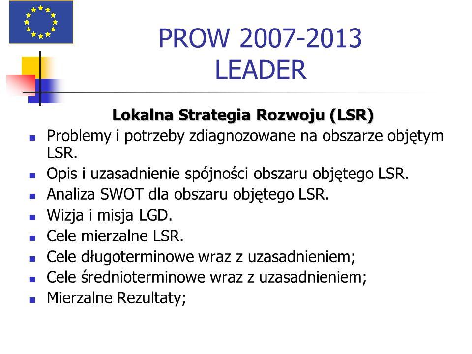 PROW 2007-2013 LEADER Lokalna Strategia Rozwoju (LSR) Problemy i potrzeby zdiagnozowane na obszarze objętym LSR. Opis i uzasadnienie spójności obszaru