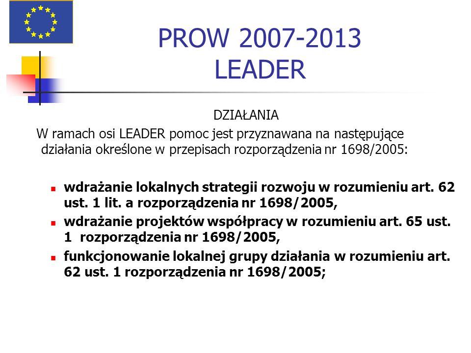 PROW 2007-2013 LEADER DZIAŁANIA W ramach osi LEADER pomoc jest przyznawana na następujące działania określone w przepisach rozporządzenia nr 1698/2005: wdrażanie lokalnych strategii rozwoju w rozumieniu art.
