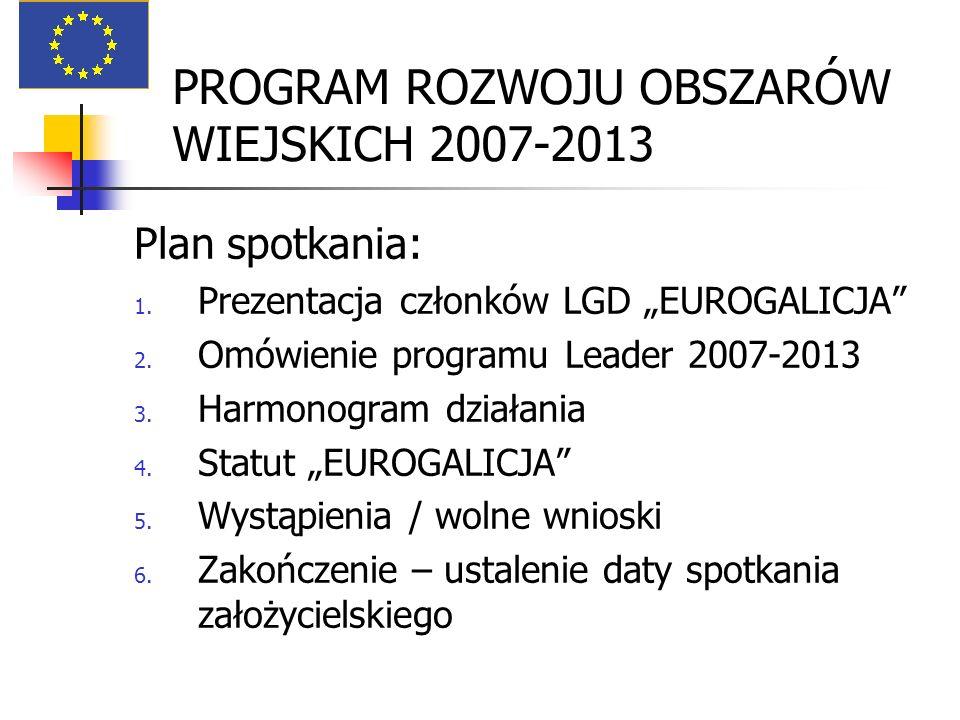 PROGRAM ROZWOJU OBSZARÓW WIEJSKICH 2007-2013 Plan spotkania: 1. Prezentacja członków LGD EUROGALICJA 2. Omówienie programu Leader 2007-2013 3. Harmono