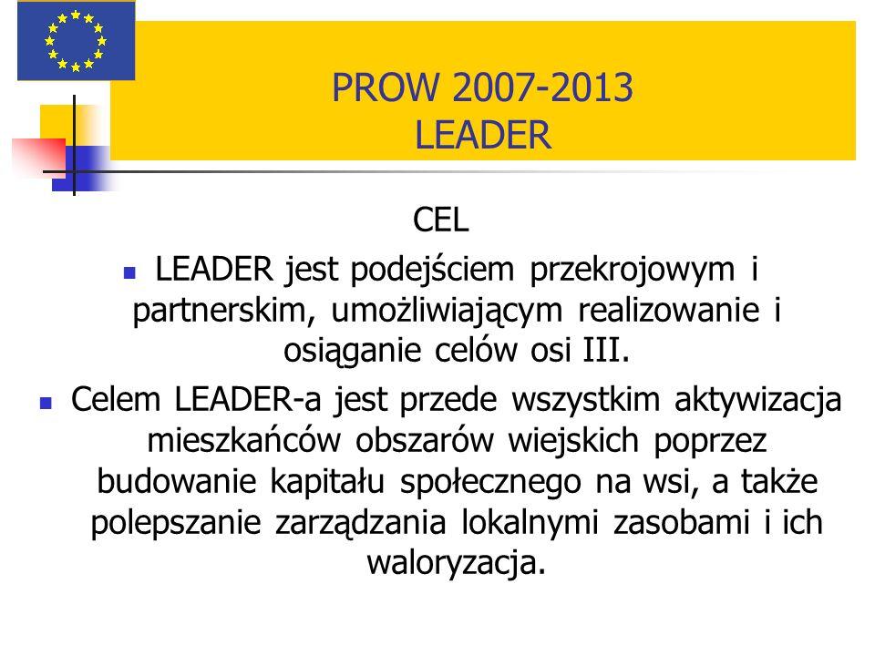 PROW 2007-2013 LEADER CEL LEADER jest podejściem przekrojowym i partnerskim, umożliwiającym realizowanie i osiąganie celów osi III. Celem LEADER-a jes