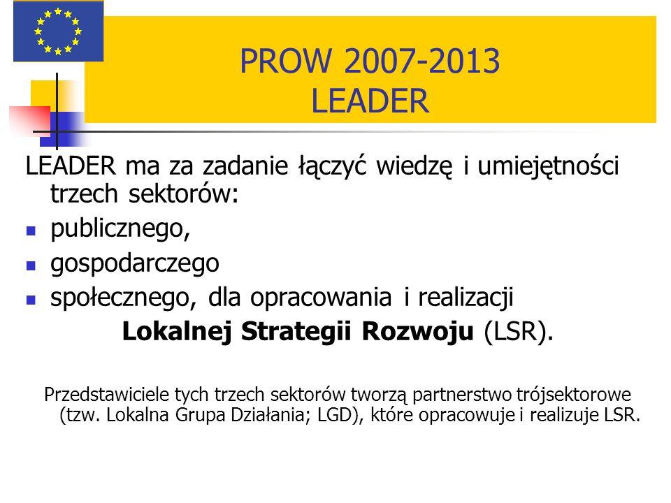 PROW 2007-2013 LEADER LEADER ma za zadanie łączyć wiedzę i umiejętności trzech sektorów: publicznego, gospodarczego społecznego, dla opracowania i realizacji Lokalnej Strategii Rozwoju (LSR).