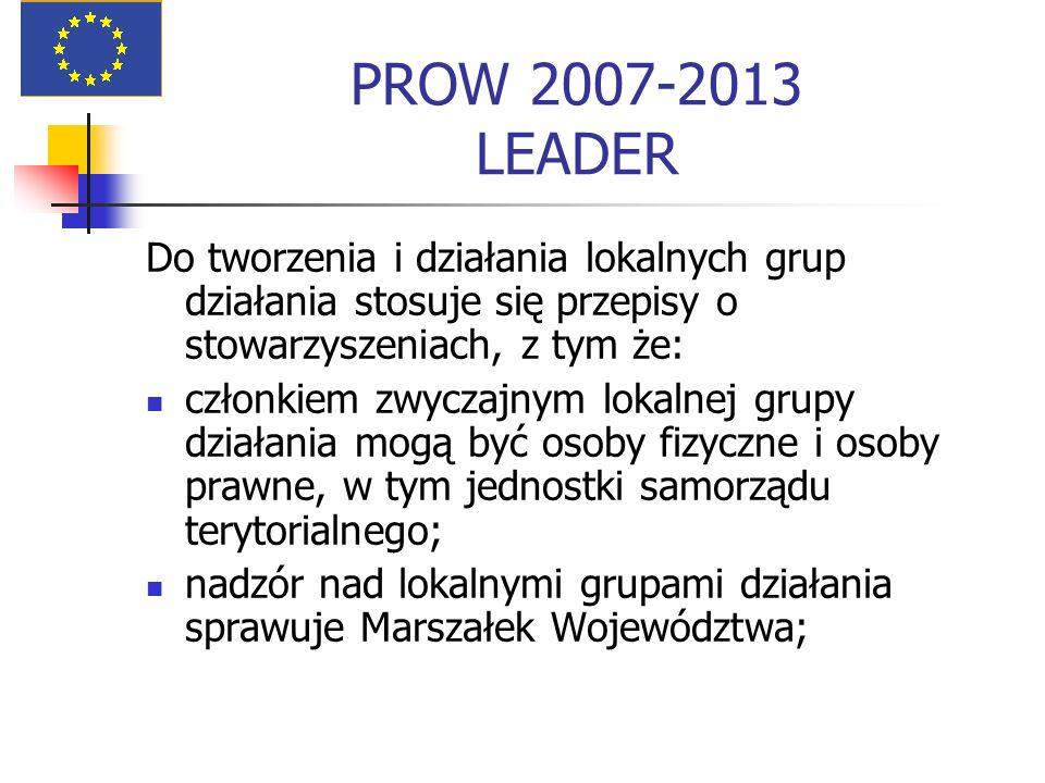 PROW 2007-2013 LEADER Do tworzenia i działania lokalnych grup działania stosuje się przepisy o stowarzyszeniach, z tym że: członkiem zwyczajnym lokalnej grupy działania mogą być osoby fizyczne i osoby prawne, w tym jednostki samorządu terytorialnego; nadzór nad lokalnymi grupami działania sprawuje Marszałek Województwa;