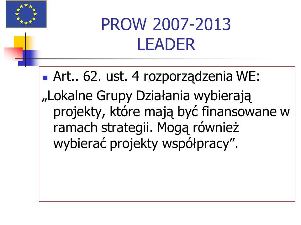 PROW 2007-2013 LEADER Art.. 62. ust. 4 rozporządzenia WE: Lokalne Grupy Działania wybierają projekty, które mają być finansowane w ramach strategii. M