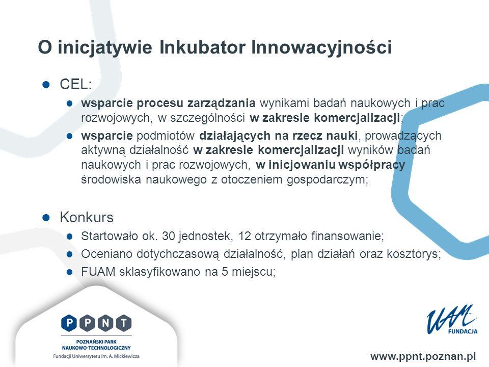 www.ppnt.poznan.pl O inicjatywie Inkubator Innowacyjności CEL: wsparcie procesu zarządzania wynikami badań naukowych i prac rozwojowych, w szczególności w zakresie komercjalizacji; wsparcie podmiotów działających na rzecz nauki, prowadzących aktywną działalność w zakresie komercjalizacji wyników badań naukowych i prac rozwojowych, w inicjowaniu współpracy środowiska naukowego z otoczeniem gospodarczym; Konkurs Startowało ok.