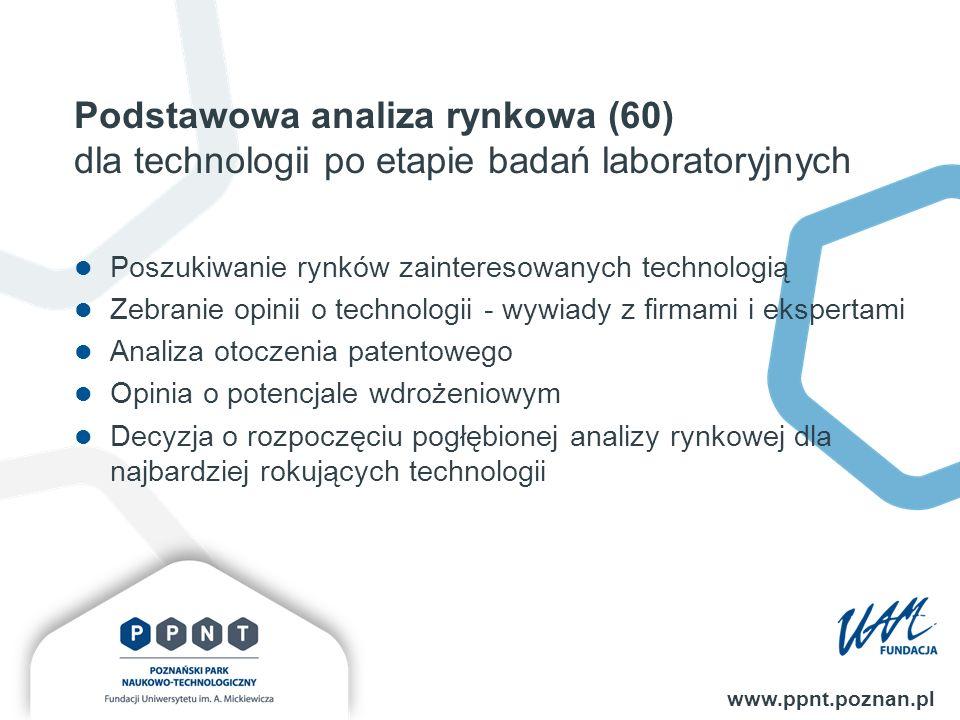 Podstawowa analiza rynkowa (60) dla technologii po etapie badań laboratoryjnych www.ppnt.poznan.pl Poszukiwanie rynków zainteresowanych technologią Zebranie opinii o technologii - wywiady z firmami i ekspertami Analiza otoczenia patentowego Opinia o potencjale wdrożeniowym Decyzja o rozpoczęciu pogłębionej analizy rynkowej dla najbardziej rokujących technologii