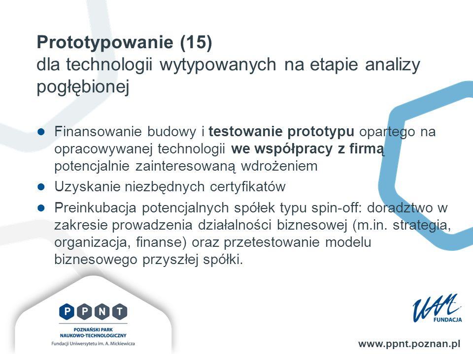 Prototypowanie (15) dla technologii wytypowanych na etapie analizy pogłębionej www.ppnt.poznan.pl Finansowanie budowy i testowanie prototypu opartego na opracowywanej technologii we współpracy z firmą potencjalnie zainteresowaną wdrożeniem Uzyskanie niezbędnych certyfikatów Preinkubacja potencjalnych spółek typu spin-off: doradztwo w zakresie prowadzenia działalności biznesowej (m.in.