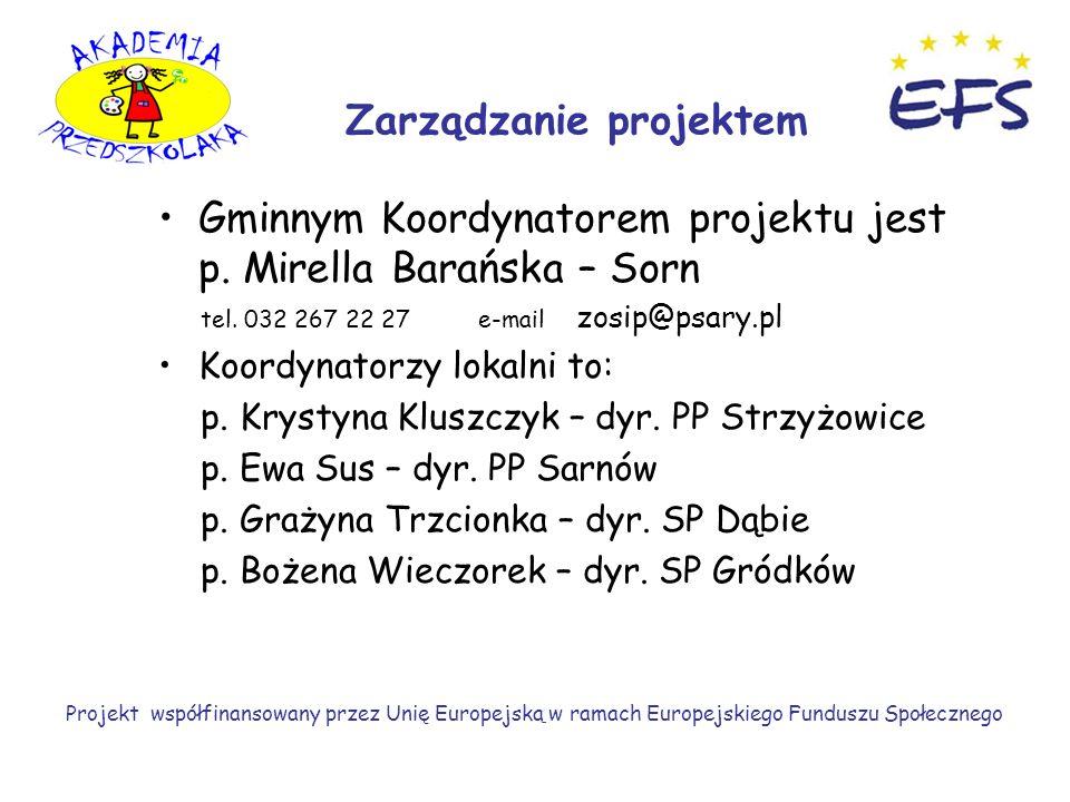 Gminnym Koordynatorem projektu jest p. Mirella Barańska – Sorn tel.