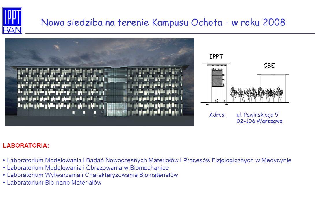 Nowa siedziba na terenie Kampusu Ochota - w roku 2008 Adres: ul. Pawińskiego 5 02-106 Warszawa IPPT CBE LABORATORIA: Laboratorium Modelowania i Badań